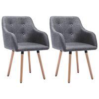 vidaXL Valgomojo kėdės, 2 vnt., šviesiai pilkos, audinys