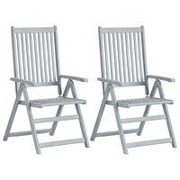vidaXL Atlošiamos sodo kėdės, 2vnt., pilkos, akacijos medienos masyvas