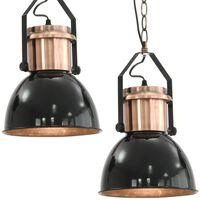 vidaXL Lubiniai šviestuvai, 2 vnt., juodos spalvos, apvalūs, E27