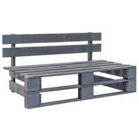 vidaXL Sodo suoliukas ir palečių, pilkos spalvos, mediena