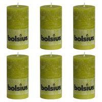 Bolsius Žvakės, 6vnt., samanų žalia, 130x68mm, cilindro formos