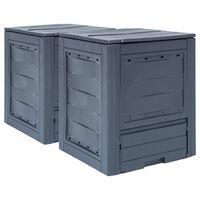 vidaXL Sodo komposto dėžės, 2vnt., pilkos spalvos, 60x60x73cm, 520l