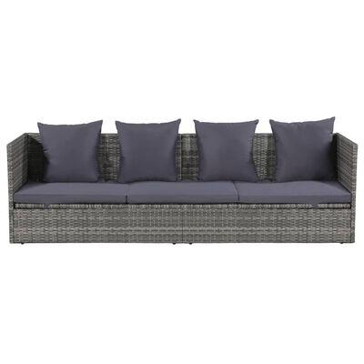 vidaXL Sodo gultas, pilkas, 200x60 cm, poliratanas