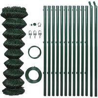 vidaXL Tinklinė tvora su stulpais, žalia, 0,8x15m, plienas
