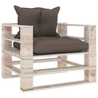 vidaXL Sodo sofa iš palečių su taupe pagalvėlėmis, pušies mediena
