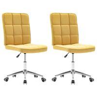 vidaXL Valgomojo kėdės, 2vnt., geltonos spalvos, audinys