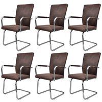 vidaXL Gembinės valgomojo kėdės, 6vnt., rudos, dirbtinė oda