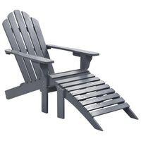 vidaXL Sodo kėdė su atrama kojoms, pilka, mediena
