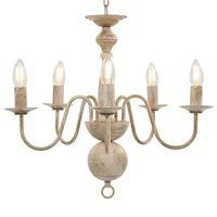 vidaXL Sietynas, baltos spalvos, 5 x E14 lemputės, senovinio stiliaus