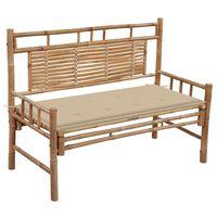 vidaXL Sodo suoliukas su pagalvėle, 120cm, bambukas