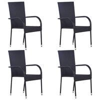 vidaXL Sudedamos lauko kėdės, 4vnt., juodos spalvos, poliratanas