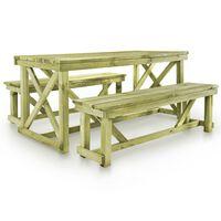 vidaXL Alaus stalas su 2 suoliukais, mediena