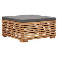 vidaXL Sodo pakoja su pilka pagalvėle, tikmedžio medienos masyvas