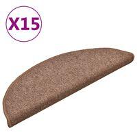 vidaXL Laiptų kilimėliai, 15vnt., rudos spalvos, 56x17x3cm