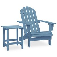 vidaXL Sodo Adirondack kėdė su staliuku, mėlyna, eglės masyvas