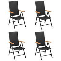 vidaXL Sodo kėdės, 4vnt., juodos spalvos, poliratanas