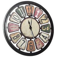 vidaXL Sieninis laikrodis, įvairiaspalvis, 80cm, MDF