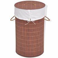 vidaXL Skalbinių krepšys, bambukas, apvalus, rudas