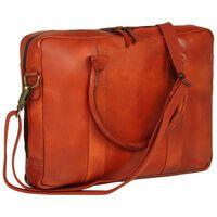 vidaXL Užsegamas krepšys neš. kompiuteriui, gelsvai rudas, tikra oda