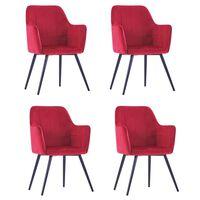 vidaXL Valgomojo kėdės, 4vnt., tamsiai raudonos, aksomas (2x287824)