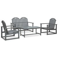 vidaXL 4 Piece Outdoor Lounge Set Grey Solid Acacia Wood