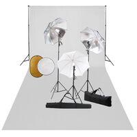 vidaXL Studijos komplektas su šviestuvais/skėčiais/fonu/reflektoriumi