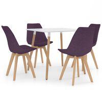 vidaXL Valgomojo baldų komplektas, 5 dalių, violetinis (287238+324174)
