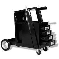 vidaXL Vežimėlis suvirinimo aparatui su 4 stalčiais, juodas