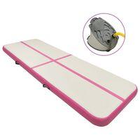 vidaXL Pripučiamas gimnastikos kilimėlis, rožinis, 400x100x15cm, PVC