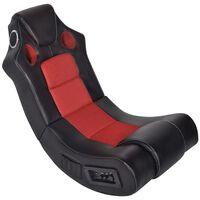 vidaXL Supama kėdė, juoda ir raudona, garso jungtis, dirbtinė oda