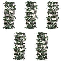 vidaXL Treliažai-tvoros, 5vnt., 180x60cm, gluosnis, su lapais