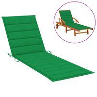 vidaXL Saulės gulto čiužinukas, žalios spalvos, 200x70x4cm, audinys