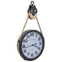 vidaXL Sieninis laikrodis, juodas ir rudas, 40x8x82 cm, geležis ir MDF