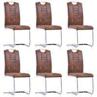 vidaXL Gembinės valgomojo kėdės, 6vnt., rudos, dirbtinė versta oda