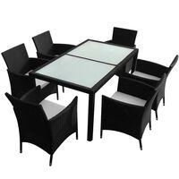vidaXL Lauko valgomojo baldų kompl. su pagalv., 7d., juod., polirat.