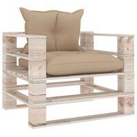 vidaXL Sodo sofa iš palečių su smėlio pagalvėlėmis, pušies mediena