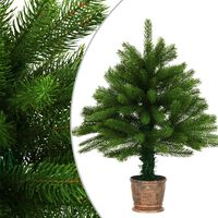 vidaXL Dirbtinė Kalėdų eglutė, žalia, 65cm, tikrų spyglių imitacija