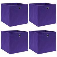 vidaXL Daiktadėžės, 4vnt., violetinės spalvos, 32x32x32cm, audinys