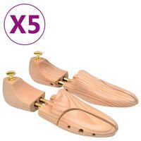 vidaXL Kurpaliai, 5 poros, pušies medienos masyvas, 38-39 dydžio