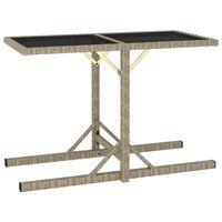 vidaXL Sodo stalas, smėlio spalvos, 110x53x72cm, stiklas, poliratanas