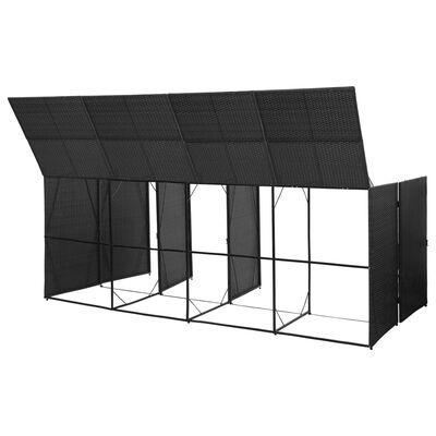 vidaXL Konteinerių stoginė, juoda, 305x78x120cm, ratanas, keturvietė
