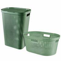 Curver Infinity Skalbinių pintinės ir krepšio rinkinys, žalias