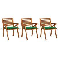 vidaXL Sodo valgomojo kėdės su pagalvėlėmis, 3vnt., akacijos masyvas