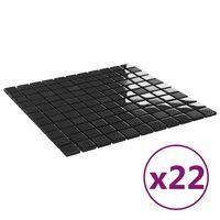 vidaXL Mozaikinės plytelės, 22vnt., juodos, 30x30cm, stiklas, blizgios