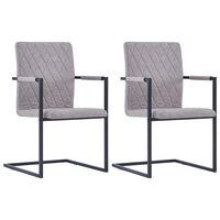 vidaXL Gembinės valgomojo kėdės, 2vnt., šviesiai pilkos, dirbtinė oda