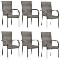 vidaXL Sudedamos lauko kėdės, 6vnt., pilkos spalvos, poliratanas