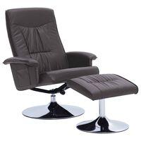 vidaXL Atlošiamas krėslas su pakoja, pilkos spalvos, dirbtinė oda
