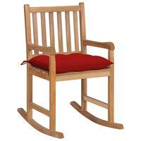 vidaXL Supama kėdė su raudonos spalvos pagalvėle, tikmedžio masyvas