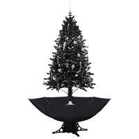 vidaXL Eglutė su sniego funkcija ir skėčio pagrindu, juoda, 190cm, PVC