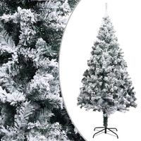 vidaXL Dirbtinė Kalėdų eglutė su sniegu, žalios spalvos, 210cm, PVC